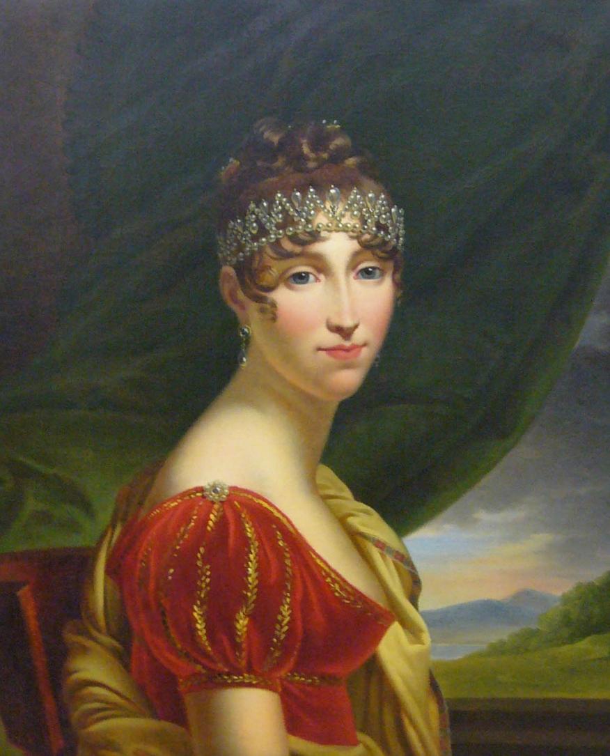 NAP Hortense in rotem Kleid_10x12cm 300dpi_Nachweis François Baron Gérard_Napoleonmuseum Thurgau